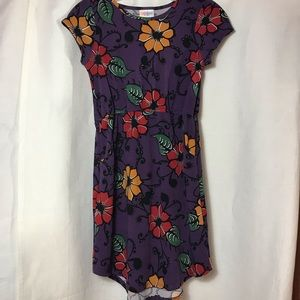 Lularoe girls purple floral dress 12